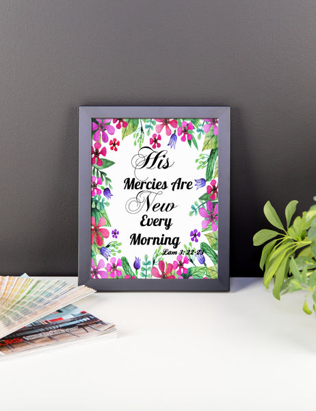 His Mercies Are New Every Morning Scripture Art Print/ Poster Wall Art, Framed Poster, Framed Wall Decor