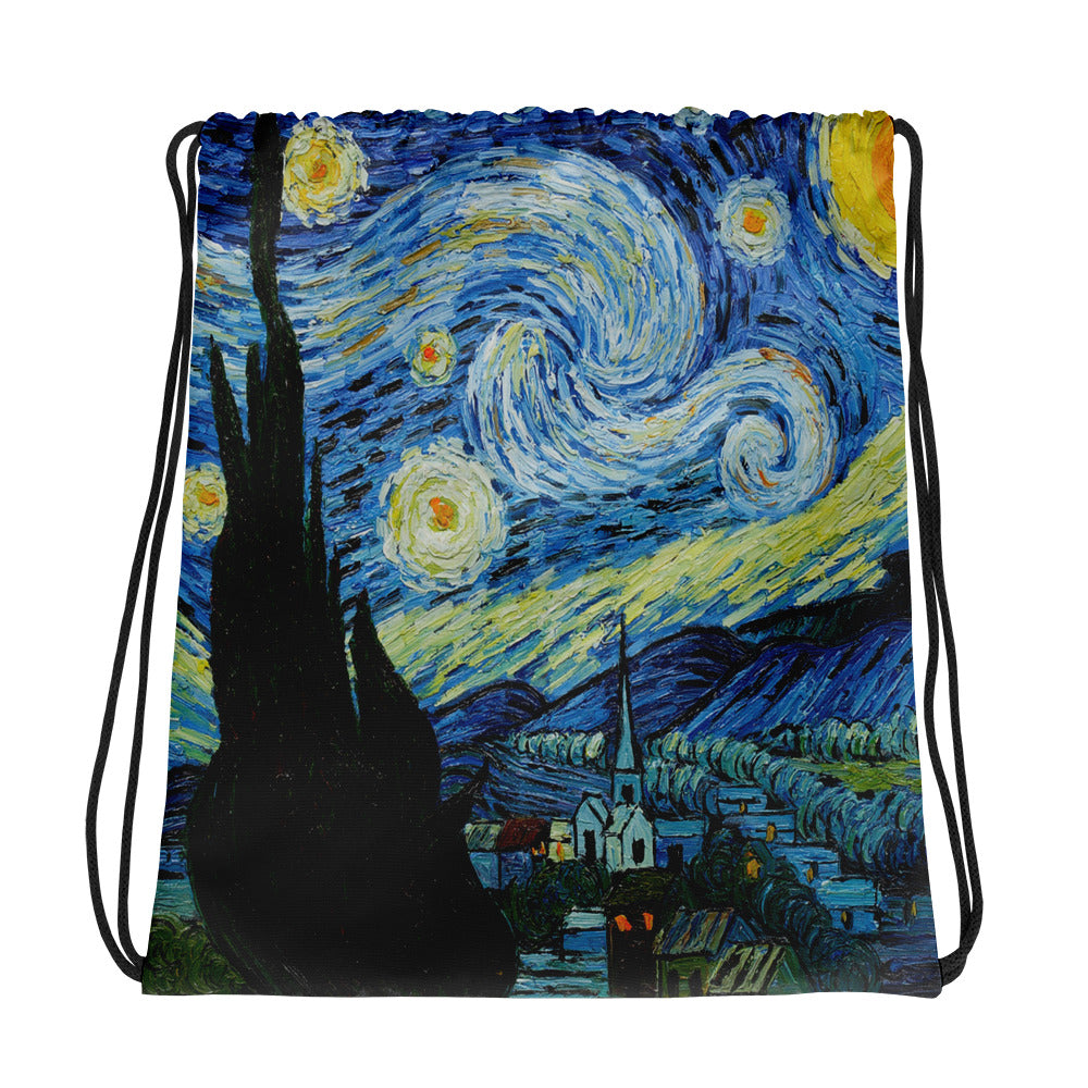 Vincent Van Gogh Starry Night Back to School Drawstring bag