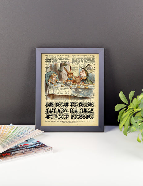 Alice in Wonderland Tea Party on Dictionary Page Ephemera Framed poster Wall Art, Wall Decor, Vintage Print