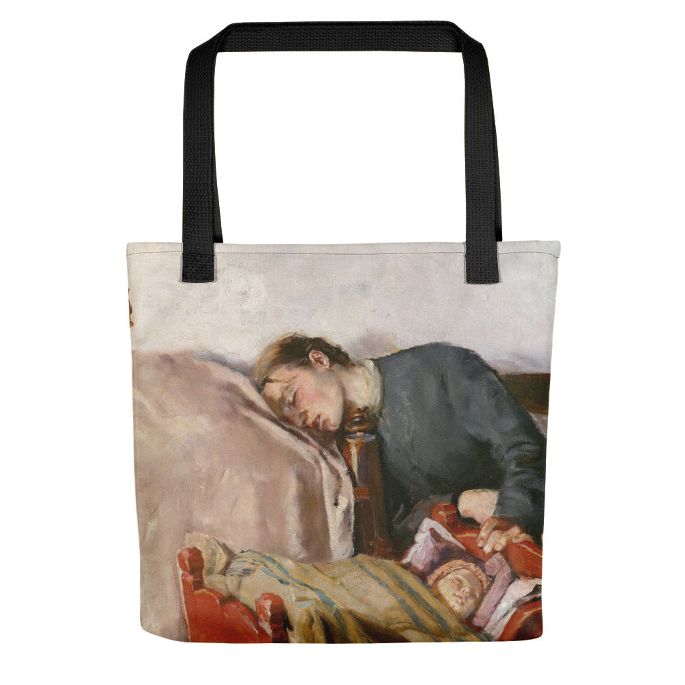Mother's Day Art Print Reproduction Tote by Christian Krohg, Vintage Art Print Tote Bag, Baby Shower Gift Tote bag