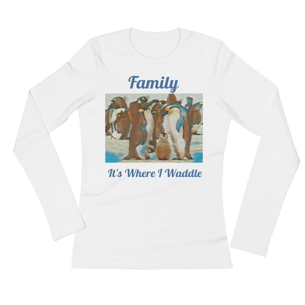 Ladies' Long Sleeve T-Shirt Penguin Family