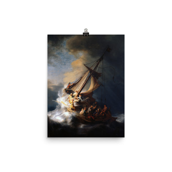 Christ in the Storm on the Sea of Galilee by Rembrandt Art Reproduction Poster