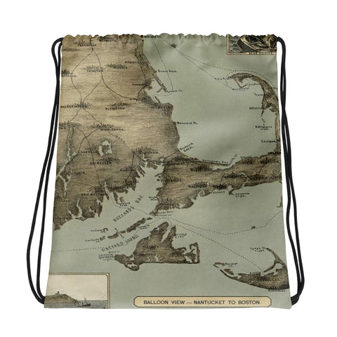 Nantucket to Boston Vintage Map Drawstring bag