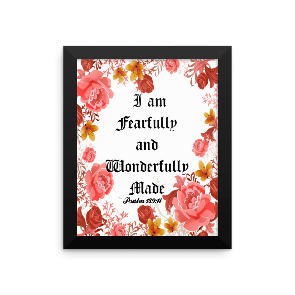 Fearfully and Wonderfully Made Scripture Art Print/ Poster Wall Art, Framed Poster, Framed Wall Decor