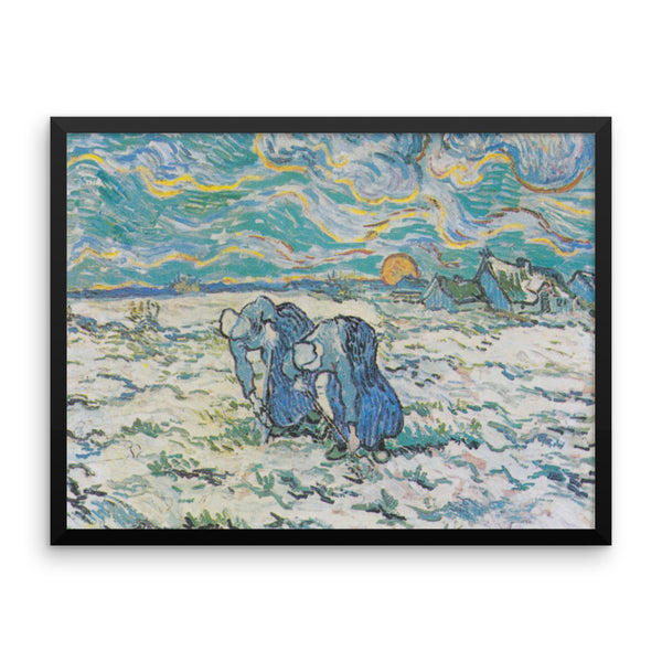 Two Peasant Women Digging in Field with Snow by Vincent Van Gogh Art Reproduction Framed poster