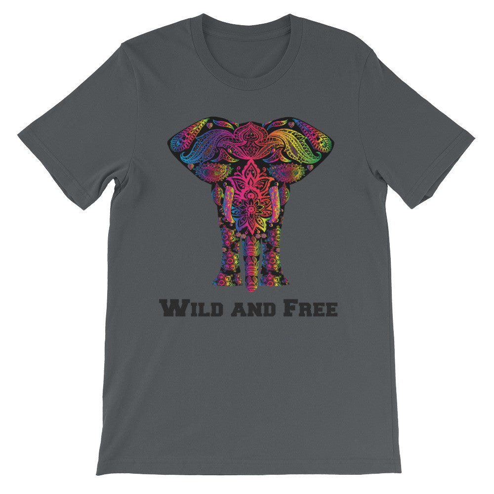 Wild and Free Elephant Art Print Unisex short sleeve Tee Shirt