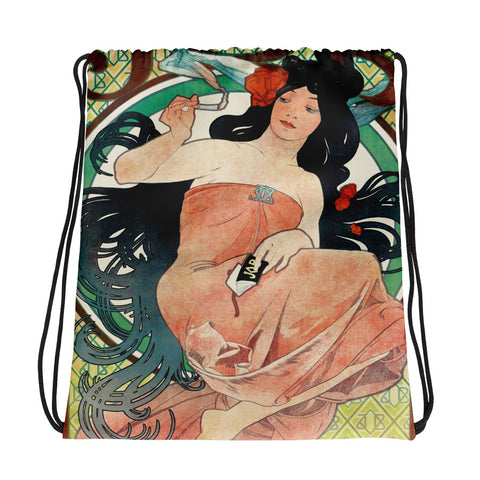 Mucha Art Print Drawstring bag