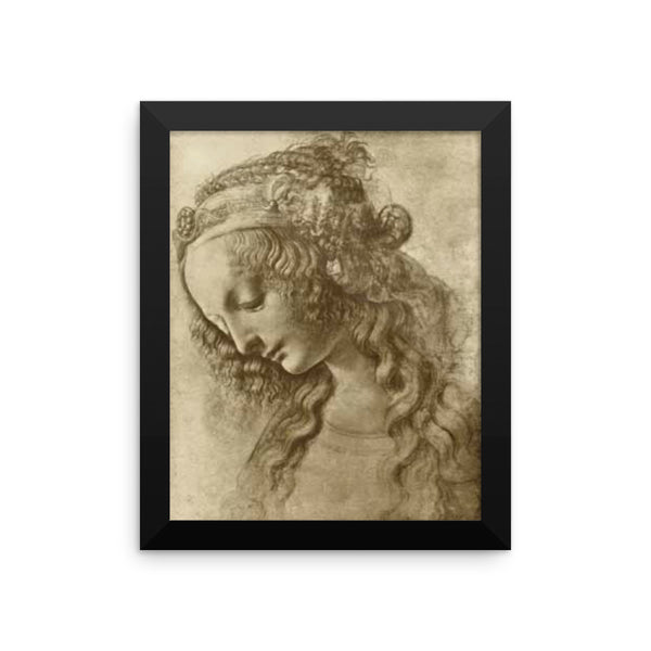 Sketch of a Woman Reproduction Art Print by Leonardo Da Vinci Framed poster