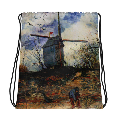 Vincent Van Gogh Windmill Drawstring bag, Backpack