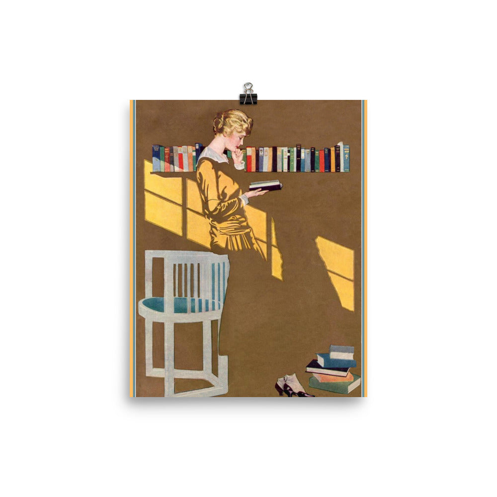 Coles Phillips Poster Reading Against the Bookcase Vintage Magazine Poster