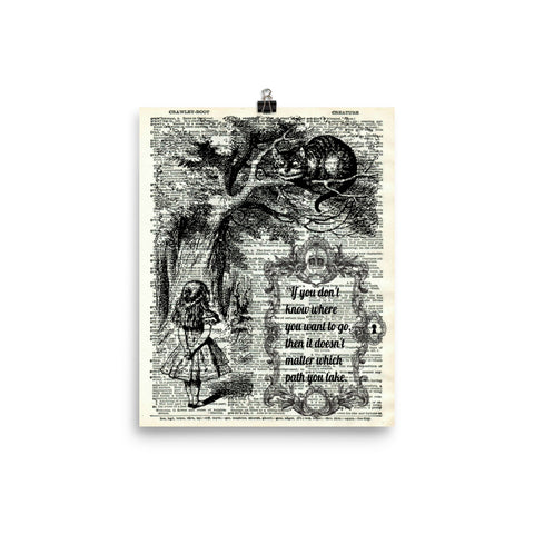Alice in Wonderland Dictionary Art Print Poster