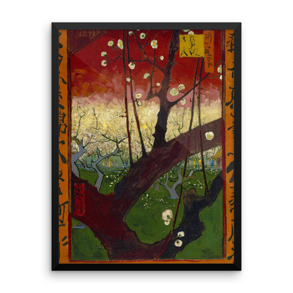 The Flowering Plum Tree by Vincent Van Gogh Art Reproduction Framed poster