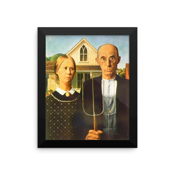 Grant Wood American Gothic Framed poster