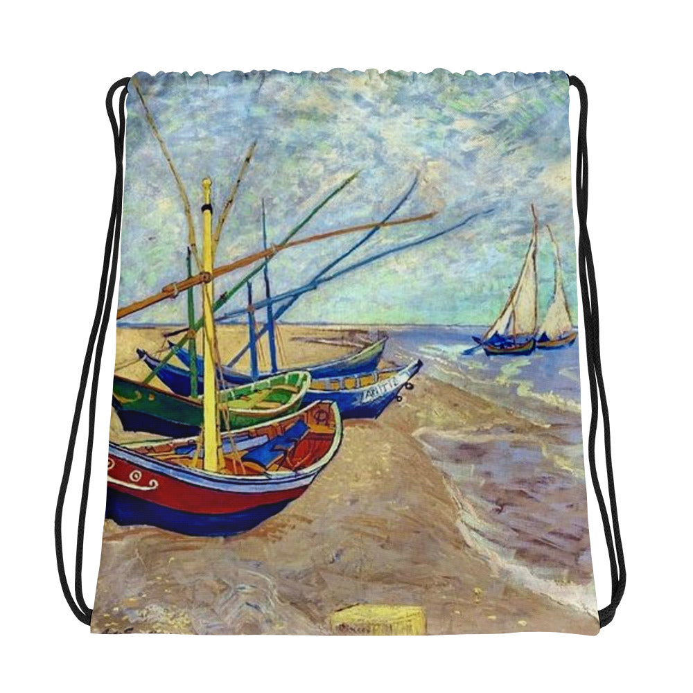 Vicent Van Gogh Boats Back to School Drawstring bag