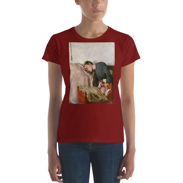 Mother's Day Art Print Reproduction by Christian Krohg, Vintage Art Print Women's short sleeve t-shirt, Mother's Day Art T-shirt