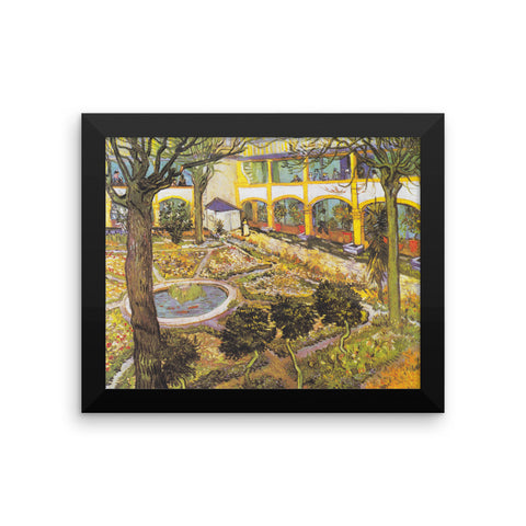 The Courtyard of the Hospital at Arles by Vincent Van Gogh Art Reproduction Framed poster