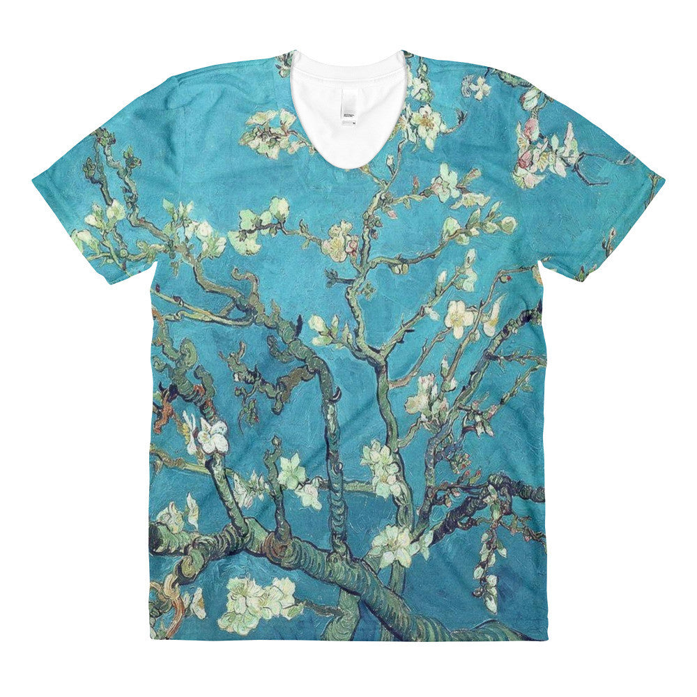 Vincent Van Gogh Almond Branches Sublimation women's crew neck Tee Shirt