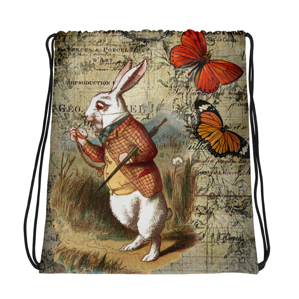 Alice in Wonderland White Rabbit Butterfly Drawstring bag
