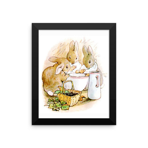 Flopsie Bunnies Framed Poster, Beatrix Potter Peter Rabbit Framed Art Print