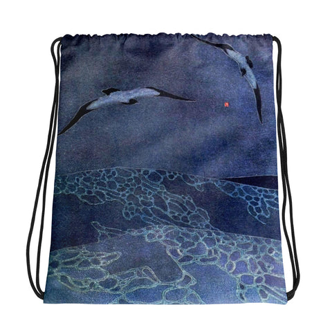 Vintage Art Deco Seascape Drawstring bag, Backpack