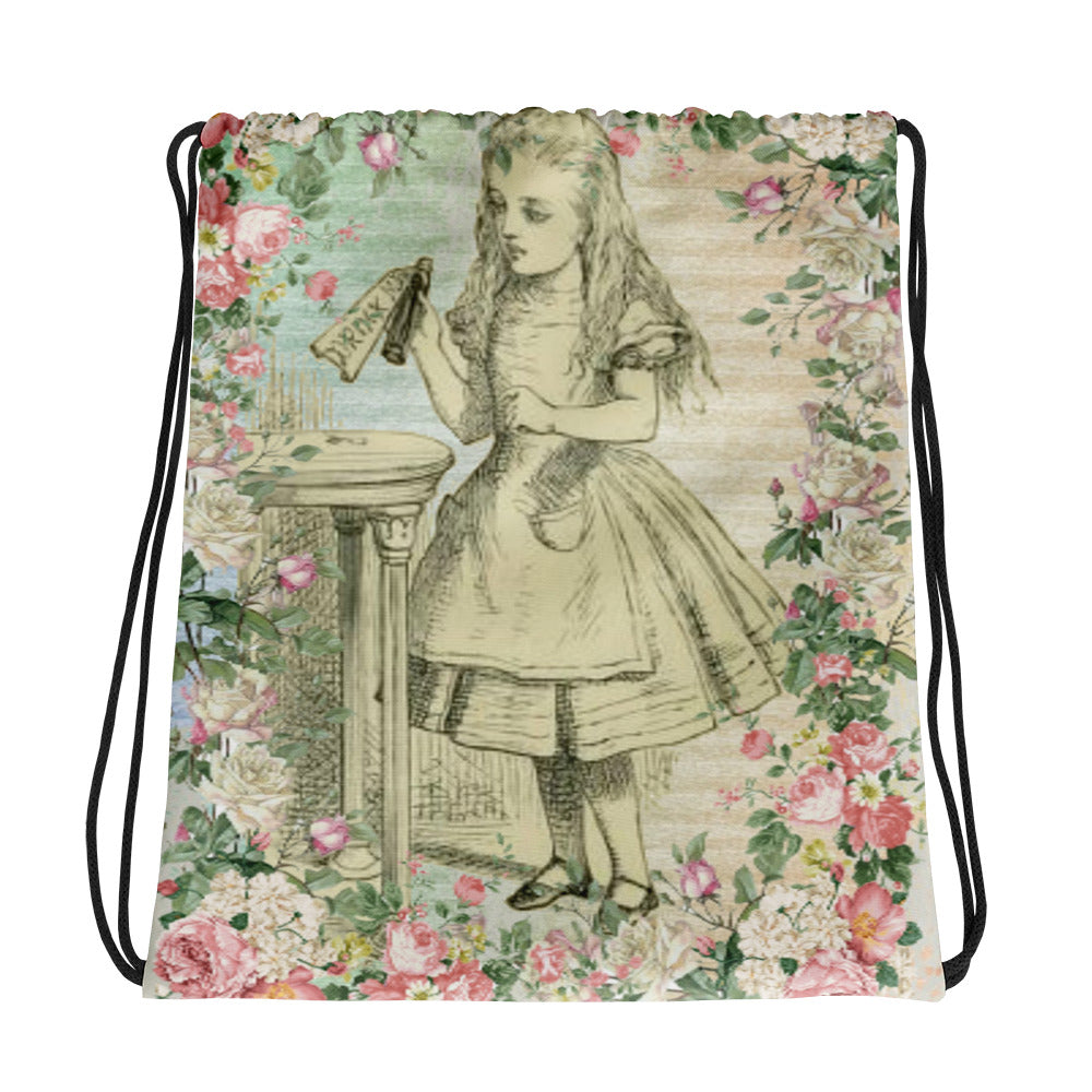Alice in Wonderland Drink Me Drawstring bag