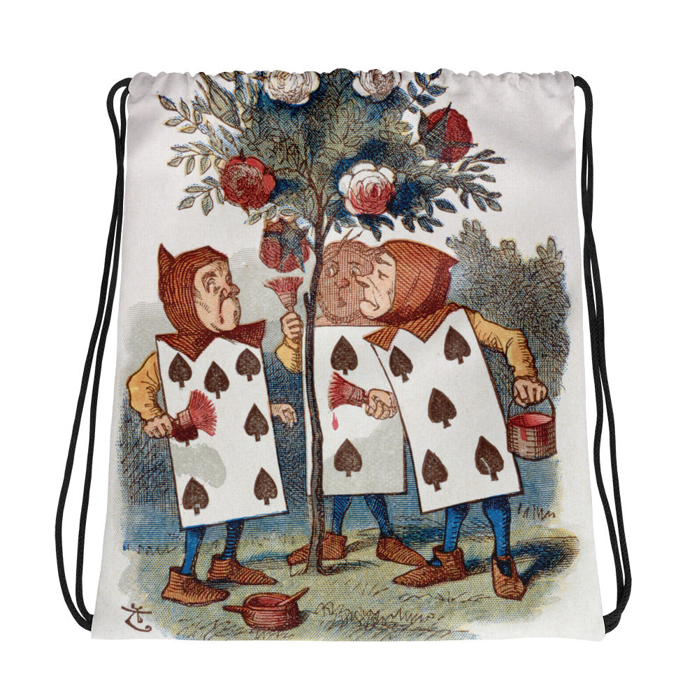 Alice in Wonderland Playing Cards Drawstring bag
