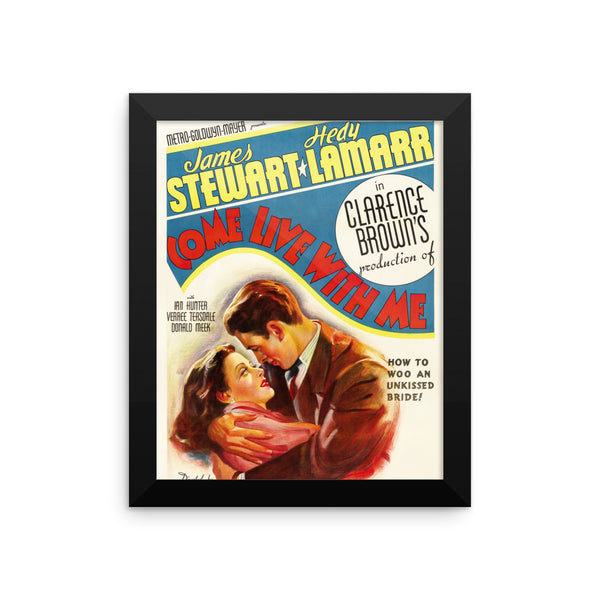 "James Stewart and Heddy Lamarr ""Come Live With Me""  Vintage Movie Framed Poster"