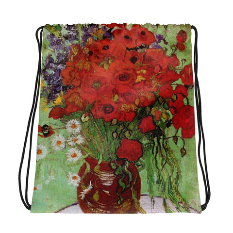 Vicent Van Gogh Vase of Poppies Drawstring bag, Backpack