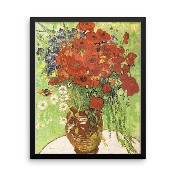 Vase of Poppies by Vincent Van Gogh Art Reproduction Framed poster