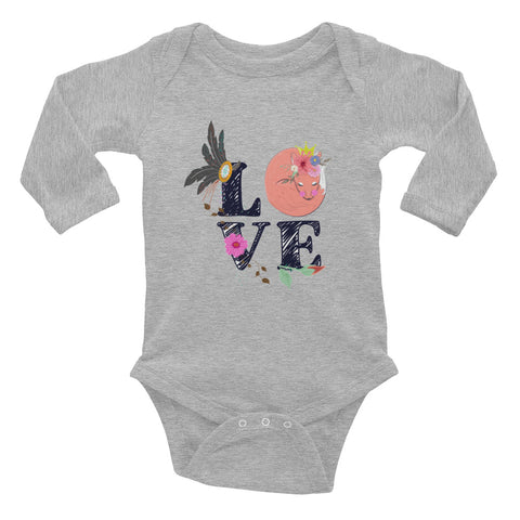 Boho Baby Fox Love Infant Long Sleeve Bodysuit