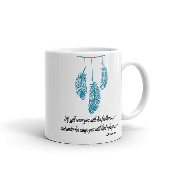 He Will Cover You With His Feathers Mug made in the USA