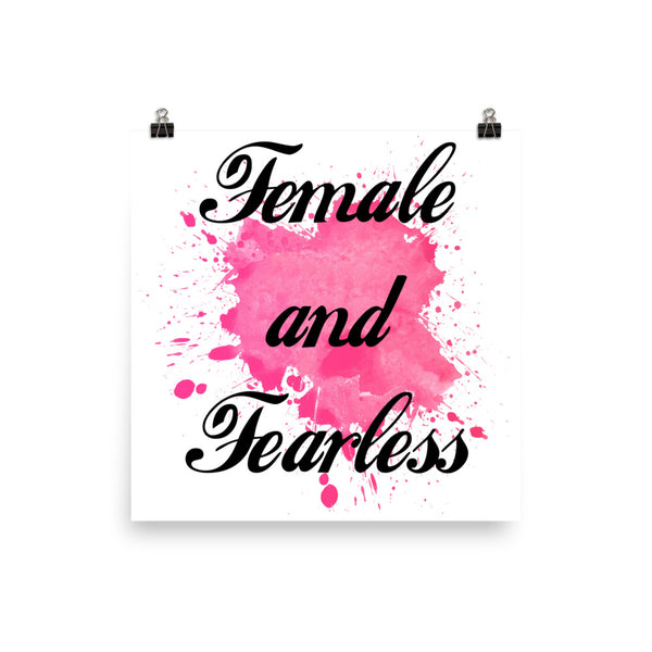 Female and Fearless Watercolor Quote Wall Decor Poster