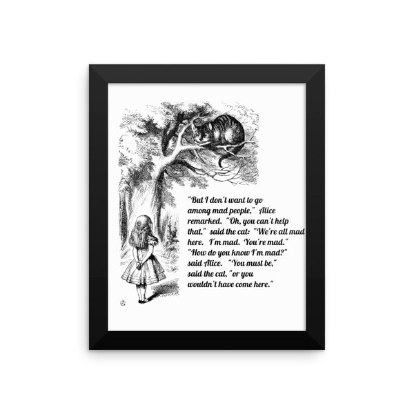 Alice in Wonderland  Cheshire Cat Framed Poster, Wall Decor