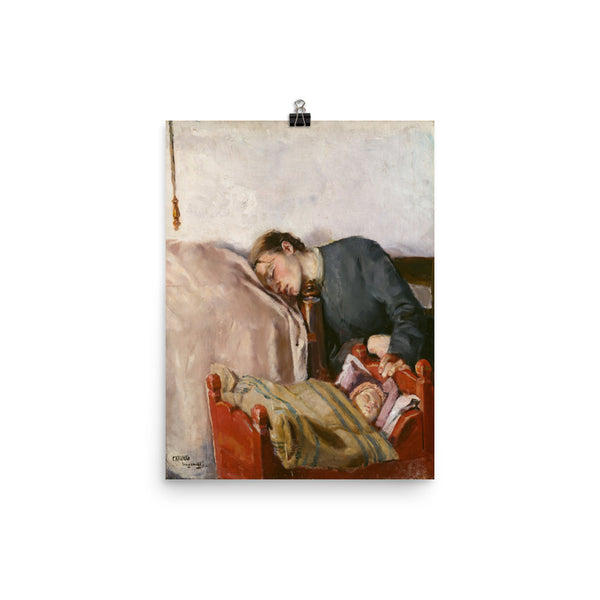 Mother's Day Art Print Reproduction Poster by Christian Krohg, Vintage Art Print Poster, Mother and Baby Art Print, Baby Shower Gift