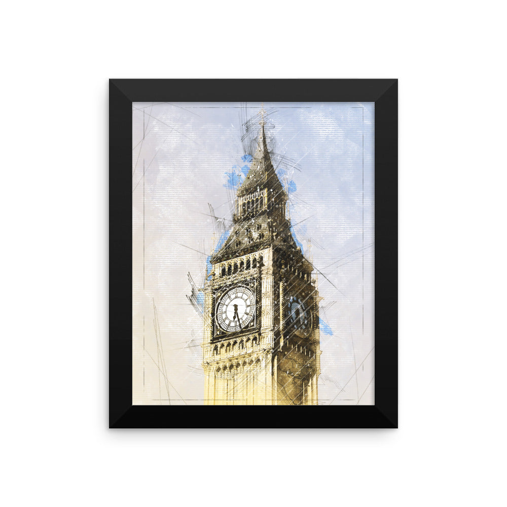 Big Ben Clock Photo Art Framed poster