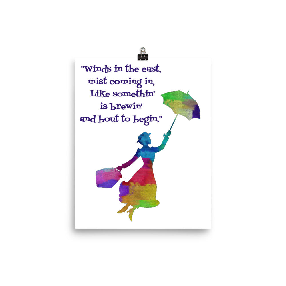 Mary Poppins Watercolor Silhouette Art Print Poster