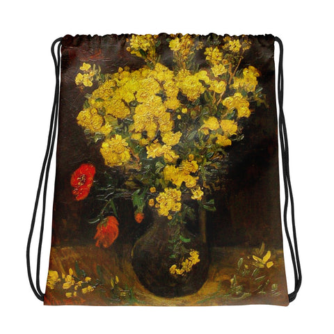 Vincent Van Gogh Vase of Flowers Back to School Drawstring bag, Backpack