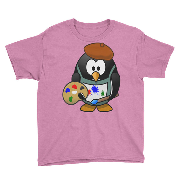 Youth Short Sleeve T-Shirt Penguin Artist