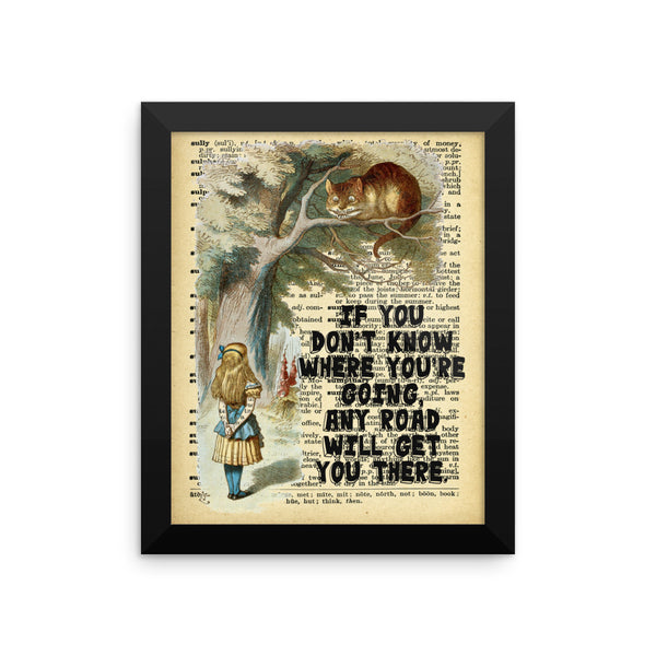Alice in Wonderland  Cheshire Cat on Dictionary Page Ephemera Wall Art, Framed Poster, Framed Wall Decor
