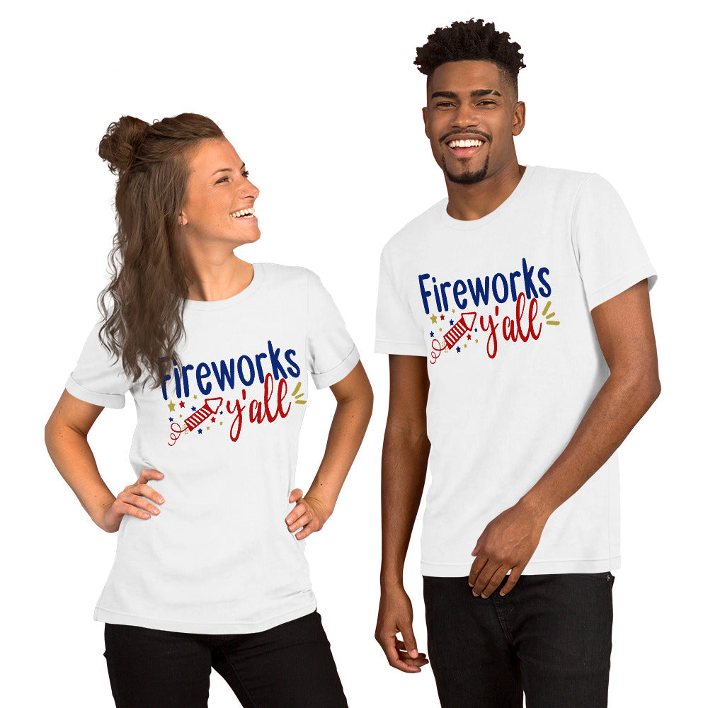 Fireworks Y'all Patriotic Short-Sleeve Unisex T-Shirt