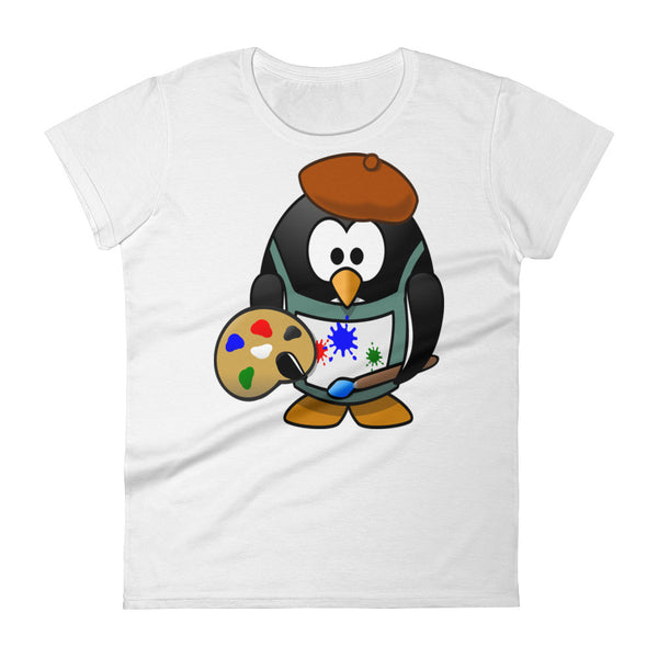 Women's short sleeve t-shirt Penguin Artist