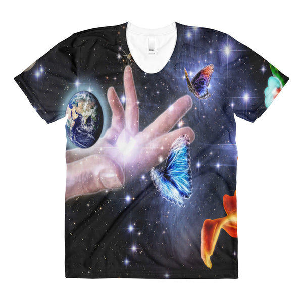 Modern Space Photo Sublimation women's crew neck t-shirt