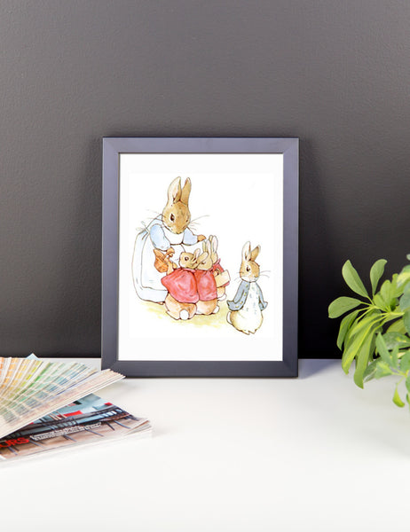 Mrs Rabbit and Bunnies Framed Poster, Beatrix Potter Peter Rabbit Framed Art Print