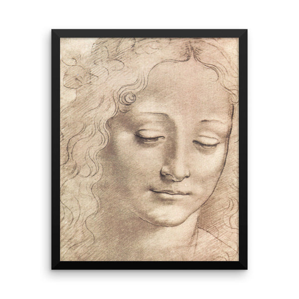 Study of a Woman's Head Reproduction Sketch by Leonardo Da Vinci Framed poster