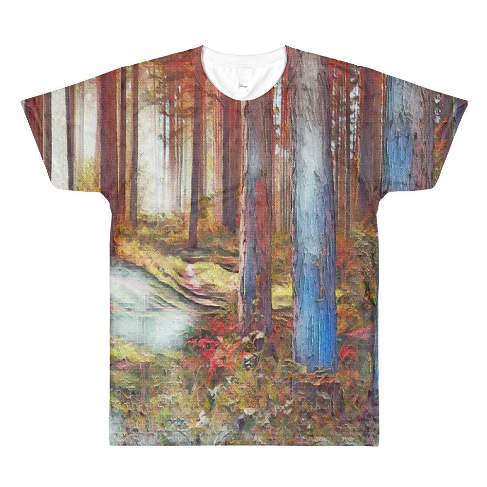 Trees in the Woods Sublimation men's crewneck Tee Shirt