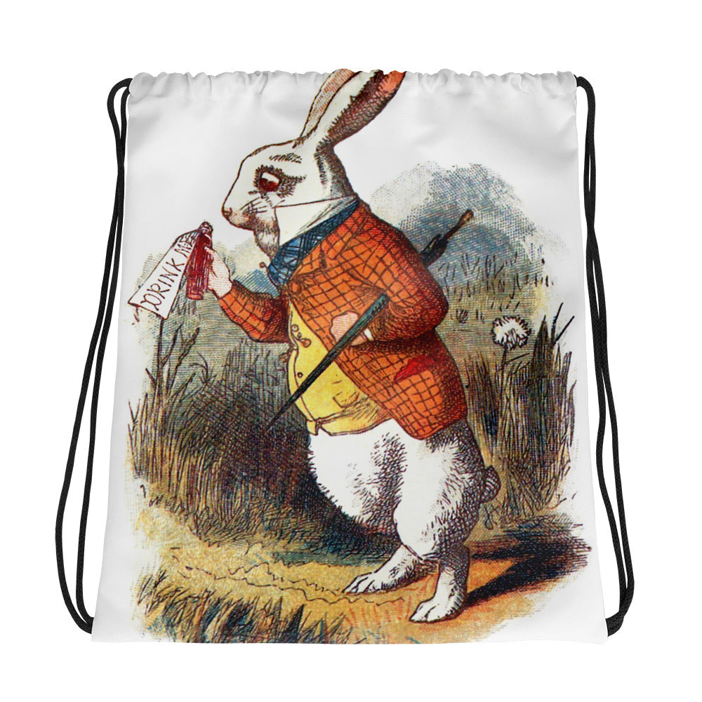 Alice in Wonderland White Rabbit  Drawstring bag
