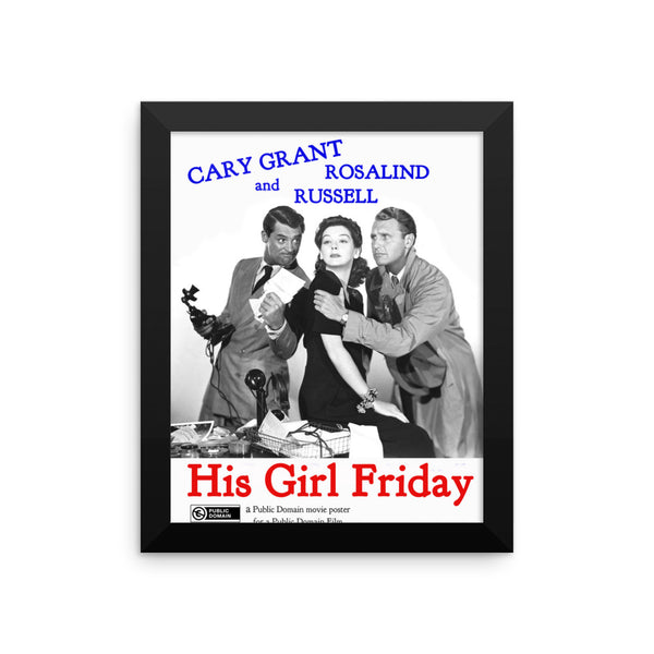 "Gary Grant ""His Girl Friday""  Vintage Movie Poster"