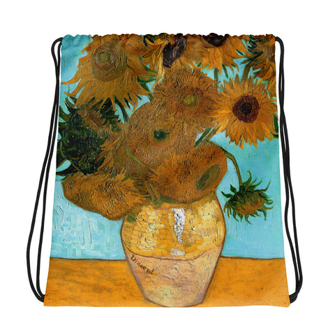 Vicent Van Gogh Sunflowers Back to School Drawstring bag