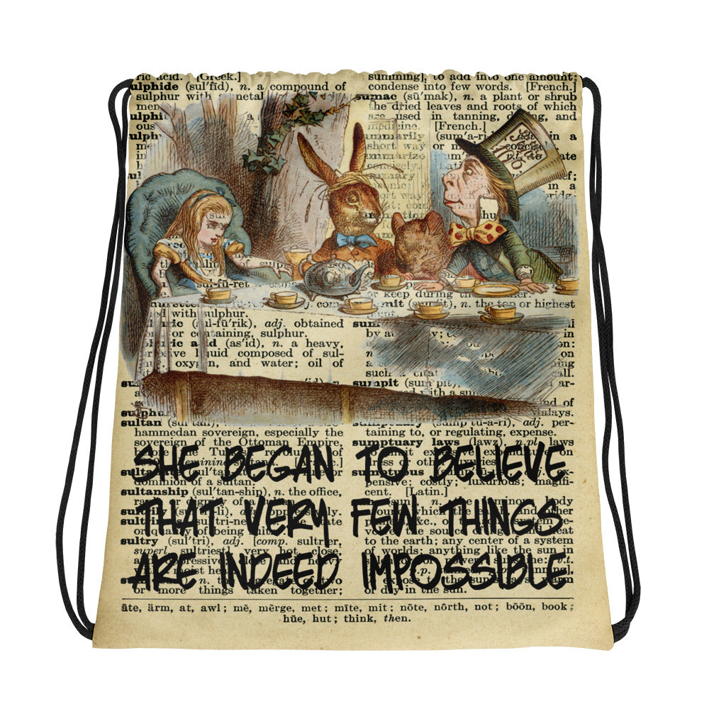 Custom Made Alice in Wonderland  Tea Party Drawstring bag