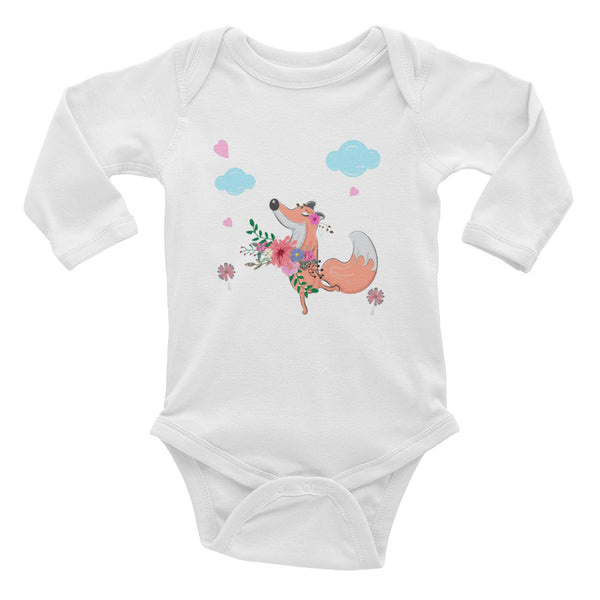 Boho Happy Fox Infant Long Sleeve Bodysuit